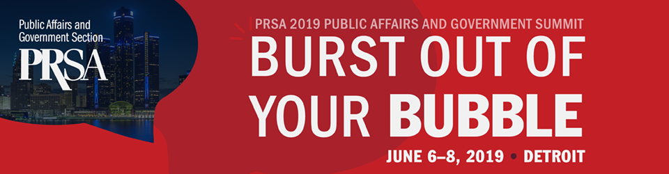 (Banner graphic of PRSA 2019 Public Affairs and Government Communications Summit logo)