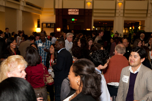 Photo of International Conference attendees at a reception