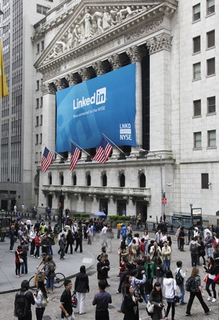 On May 19, LinkedIn became the first major social networking site to hold an IPO. (AP Wide World Photos)