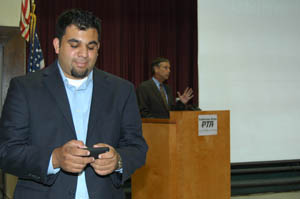 Dennis Raj, special assistant to  Jack O'Connell, state superintendent of public instruction, tweets during a California PTA meeting.