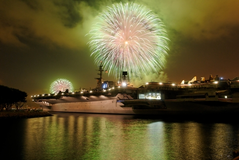 USS Midway with fireworks photo