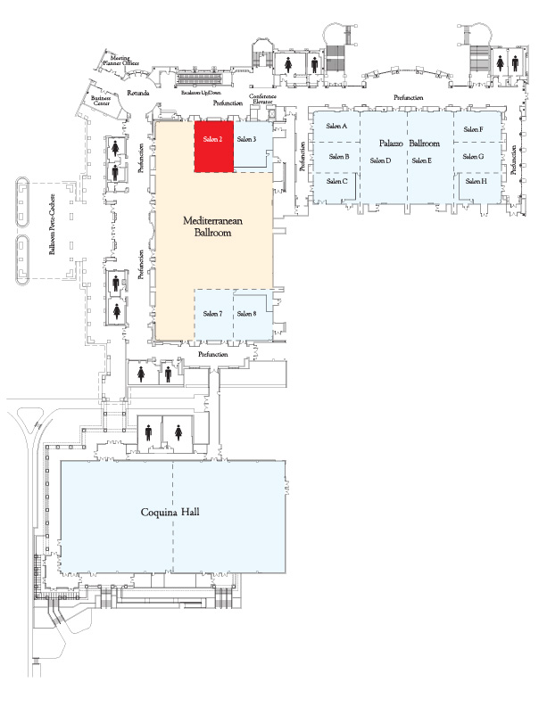 Map showing location of Mediterranean Salon 2.