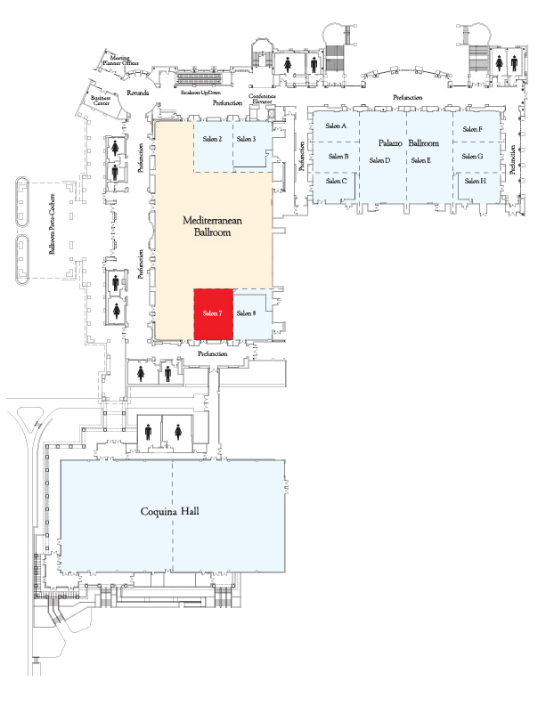 Map showing location of Mediterranean Salon 7.